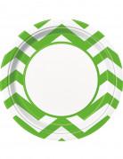 8 Assiettes en carton chevrons verts 23 cm