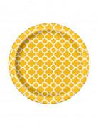 8 Petites assiettes en carton Grafik jaune 17 cm
