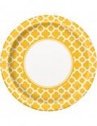 8 Assiettes en carton Grafik jaune 22 cm