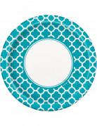 8 Assiettes en carton Grafik turquoise 22 cm
