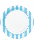 8 Assiettes rayures bleues en carton 22 cm