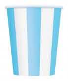 6 Gobelets blancs à rayures bleues en carton 355 ml