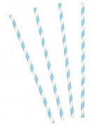 10 Pailles à rayures bleues en carton 21 cm