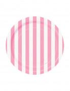 8 Petites assiettes blanches à rayures roses en carton 17 cm
