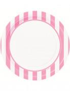 8 Assiettes blanches à rayures roses en carton 22 cm