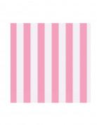 16 Petites Serviettes en papier à Rayées Roses  25 x 25 cm