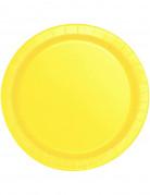 16 Assiettes jaune doux en carton 22 cm