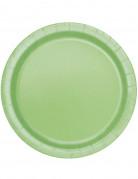 16 Assiettes vert pomme en carton 22 cm