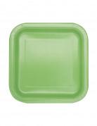 16 Petites assiettes carrées vert pomme en carton 17 cm