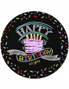 8 Assiettes en carton Confettis Happy Birthday 23 cm