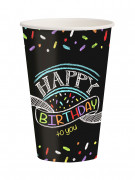 8 Gobelets en carton Confettis Happy Birthday 250 ml