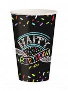 8 Gobelets en carton Confettis Happy Birthday 250 ml