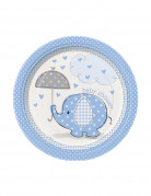 8 Petites assiettes carton Elephant Bleu 18 cm