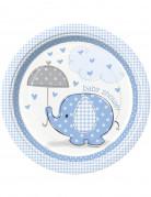 8 Assiettes carton Elephant Bleu 23 cm