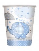 8 Gobelets carton Elephant Bleu 25 cl