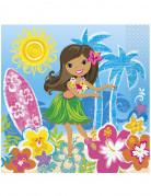 16 Serviettes en papier Hawaï 33 x 33 cm