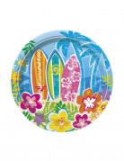 8 Petites assiettes en carton Hula Fête sur la plage 18 cm