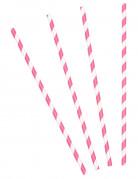 10 Pailles en carton à rayures roses et blanches