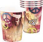 6 Gobelets en carton Hippie Flower power 250 ml