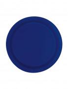 8 Petites assiettes en carton bleu marine 18 cm