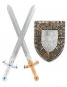 Kit bouclier et 2 épées en plastique pour Enfant