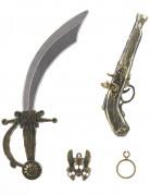 Kit de pirate en plastique - Sabre, pistolet, insigne et boucle d'oreilles Enfant