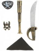 Kit de pirate en plastique - Sabre, telescope, bandana, insigne et cache oeil Enfant