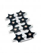 8 Pinces étoile noire et or