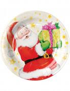 8 Petites assiettes en carton Père Noël 18 cm