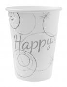 10 Gobelets en carton Happy blanc