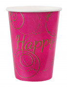 10 Gobelets en carton Happy fuschia