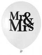8 Ballons MR & MRS blanc Mariage