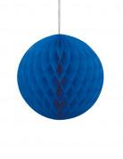 Boule papier alvéolé bleu 20 cm