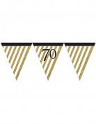 Guirlande à fanions noir et or 70 ans 3,7m