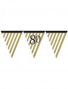 Guirlande à fanions noir et or 80 ans 3,7m