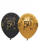 6 Ballons noir et or 50 ans