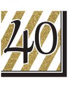 16 Serviettes 40 ans Noir et Or 33 x 33 cm