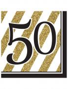 16 Serviettes 50 ans Noir et Or 33 x 33 cm