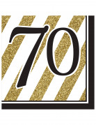 16 Serviettes 70 ans Noir et Or 33 x 33 cm