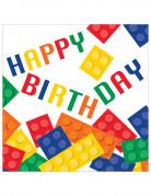 16 Serviettes Jeu de construction Happy Birthday