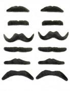 12 Moustaches noires adhésives