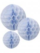 3 Boules en papier alvéolé bleu ciel 15, 20 et 25 cm
