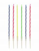 12 Bougies multicolores avec bobèches 10.5 cm