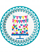 8 Assiettes en carton Happy Birthday turquoise 22 cm