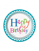 8 Petites assiettes en carton Happy Birthday turquoise 17 cm