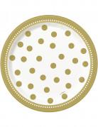 8 Petites assiettes en carton anniversaire doré 17 cm