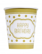 8 Gobelets en carton anniversaire doré