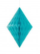 Losange alvéolé turquoise 35 cm