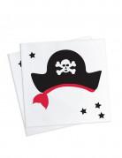 20 Petites serviettes en papier Pirate 25 x 25cm