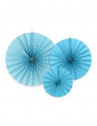 3 Rosaces en papier bleues